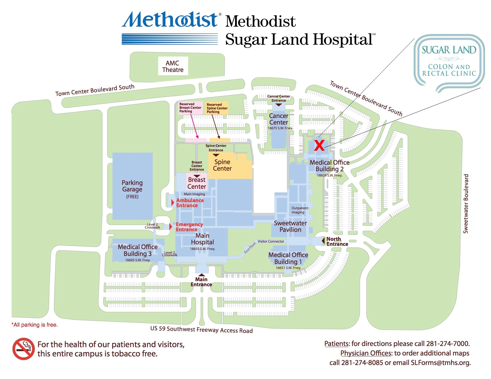 Amc Campus Map.Contact Sugar Land Colon And Rectal Clinic